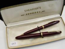 Vintage Sheaffer 14K Gold Squib Fountain Pen Set