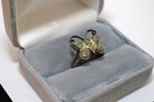 Vintage Navajo Sterling Turquoise Chip Inlay Butterfly Ring Size 8