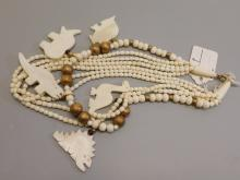 Vintage Carved Bone Dinosaur Costume Jewelry Necklace