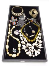 Lot of Costume Jewelry Necklaces Pendants Sterling Silver Earrings Bracelet and Ring