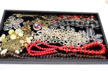 Lot of Costume Jewelry Bead Necklaces and Butterfly for Upcycle
