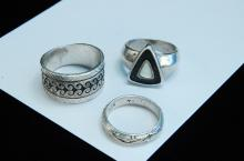 16.4g TW Sterling Silver MOP Etched Ring Lot Of 3