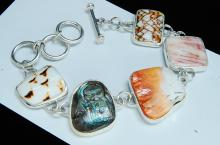 Modern 28g Sterling Exotic Shell Ladies Bracelet