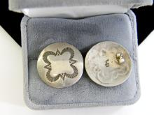 Vintage 8g Sterling Silver Concho Post Earrings