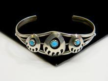 7g Sterling Turquoise Bear Paw Shadowbox Bracelet