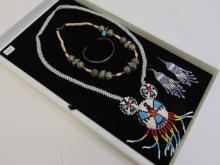 Native American Sterling Beaded Jewelry Lot Of 4