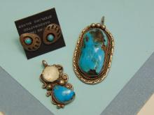 Native American 20g Sterling Turquoise Pendant Earring Lot Of 3