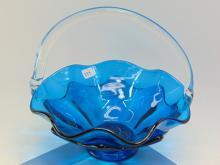 Handmade Blue Glass Basket