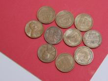 1910-40's Wheat Cent US Coin Lot Of 10