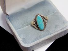 Vintage Sterling Turquoise Navajo Ring Size 8.5