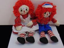 Raggedy Ann & Andy Cloth Doll Lot Of 2