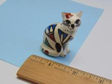 NM Navajo Painted Signed MHCK Clay Cat Figurine