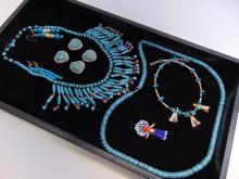 Vintage Native American Turquoise Jewelry Lot Of 8
