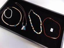 Native American Bone & Shell Bead Necklace Lot