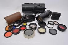 Lot of Minolta Celtic 100-200mm 35mm Camera Lens Vivitar 252 Flash and Assorted Filters