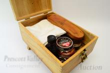 Vintage Wooden Shoe Shine Box with Brushes Polish and Waterproofer