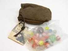 Vintage Style Glass Marbles W/ Leather Pouch