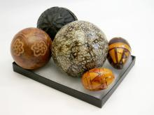 Decorative Stone & Carved Wood Sphere & Egg Lot