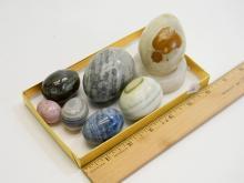 Carved Onyx & Alabaster Decorative Egg Lot Of 7