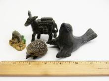 Assorted Carved & Molded Animal Figurine Lot Of 4