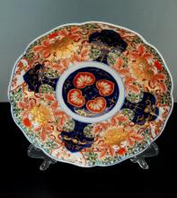 Antique Imari Hand Painted Front and Back Scalloped Rim Dish