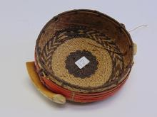Native American Pine Needle Basket with Ivory Boar Tusks