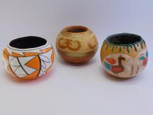 3 Native American Carved & Painted Gourds