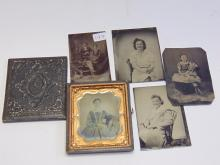 Vintage Daguerrotype in Case with 4 Tintypes