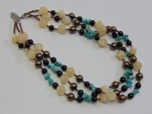 Vintage Stone and Bead 3 Strand Necklace
