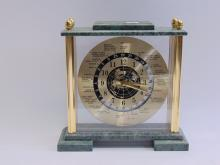 World Time Clock in Glass Case w Analog Dial and Marble Top and Bottom