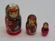 Set of 3 Lady Nesting Dolls 3 1/2