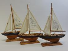 Lot of 3 Wooden Display Ships with Religious Quotes