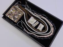 57 Grams Sterling Beads , Tortoise Shell, Shell, Obsidian, Jewelry Making Lot