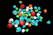 Lot Of Dyed Stone Carved Skull Beads