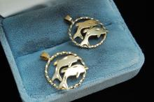 14K Gold Filled Dolphin Pendant Lot Of 2