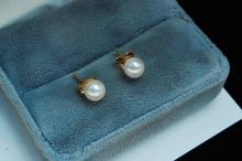 14K Gold Filled Pearl Post Earrings