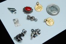 Vintage Sterling Silver Charm Pendants Lot Of 8