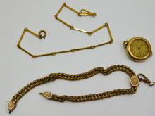 Wanda Swiss Made 7 Jewel Fulton Movement Gold Filled Pocket Watch and Two Chains