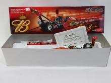 New 1/24 Action Brandon Bernstein Rare Autographed Budweiser Top Fuel Die Cast Dragster Model