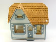 Vintage Hand Made Doll House with Heart Accents