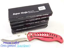 Lot of 5 New Super Knife AL0052 Laser Etched Damascus Serrated Folding Pocket Knives