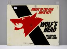 Vintage Wolf's Head Motor Oil Advertisement Sign