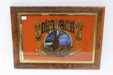 Vintage Union Pacific Railroad Framed Advertising Mirror