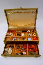 Vintage Jewelry Box Filled with Costume Jewelry Earrings Rings Necklaces and Brooches