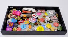 Lot of Buttons Pins Keychains Shoe Horns and Assorted Ephemera