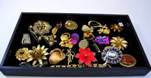 Lot of Costume Jewelry Pins Brooches and Bracelets