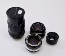 Lot of 4 TV Nikkor-H Vivitar 28mm and Sears 135mm Lenses