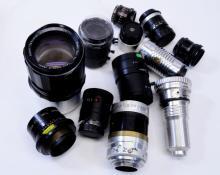 Lot of 12 Camera Lenses Including Tamron Ilex Simpson and Fujinon Lenses
