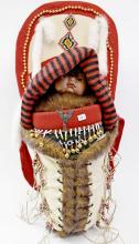 Traditions Collection Native American Indian Baby Doll on Beaded Cradle Board