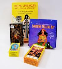 Lot of Native American St Petersburg Russian Miniature Rider Waite and Ages Tarot Sets with Fortune Telling Kit
